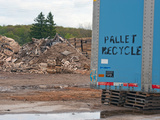 Semi-Trailer Parked at Pallet Recycle Business  Michigan  USA