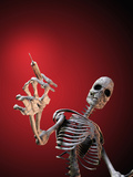 Biomedical Illustration of a Skeleton with a Syringe as an Anti-Drug Message