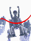 Illustration of a Boy Winning a Wheelchair Race