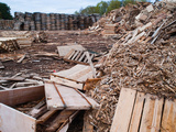 Pile of Trashed Pallets at Recycling Business  Michigan  USA
