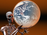 Skeleton Holding the Earth to Illustrate the Concept of a Pandemic or Worldwide Epidemic