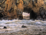 Close Up of Waves and Sea Spray Through a Sea Arch at Pfeiffer Beach in Big Sur