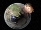Concept of a Meteor Colliding with the Earth