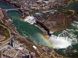Rainbow over Niagara Falls  Aerial View  USA and Canada