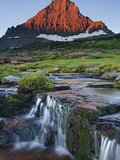 Mount Reynolds in Early Morning Light and a Seasonal Waterfall  Glacier National Park  Montana  USA