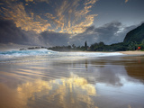 Kee Beach on Kauai&#39;s North Shore Is a Popular Place to Watch the Sunset  Hawaii  USA