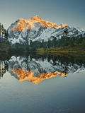Autumn Alpenglow Sunset on Mount Shuksan Reflected in the Still Waters of Picture Lake