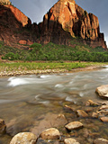 Red Arch Mountain and the Virgin River in Evening Light  Zion National Park  Utah  USA