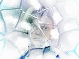 Ice Age  a Sad Child Likeness Looks Through a Winter Window