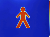 Thermogram of a Warm Surface Through a Cutout in the Shape of a Standing Person