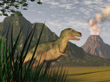 Illustration of a Tyrannosaurus Rex Dinosaur and the Cretaceous Period