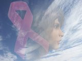 Biomedical Illustration of a Breast Cancer Awareness Symbol and a Woman's Face
