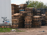 Semi Trailer Parked at Pallet Recycle Business in Michigan  USA