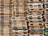 Stacks of Pallets at Pallet Recycling Business in Michigan  USA