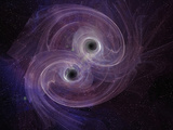 Artistic Concept of Two Black Holes Circling Each Other before Merging