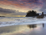 Waves Crashing over Grandmother Rock at Sunset on Trinidad Beach Near Eureka  Northern California