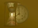 Hourglass and a Clock