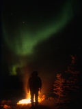 Camper Observing the Aurora Borealis  Alaska  USA