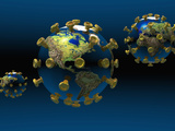 Pandemic Virus  Earth Superimposed on a Virus