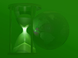"""An Hourglass with the Earth Which Asks the Question  """"Is Earth Running Out of Time"""""""