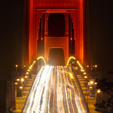Nightime Traffic on the Golden Gate Bridge  San Francisco  California  USA
