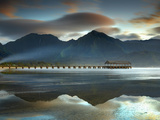 Pier and Sandy Beach at Hanalei on the North Shore of Kauai the Mountains in the Background
