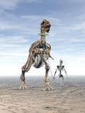 Human Skeleton Walking a Dinosaur Skeleton on a Leash