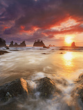 Clearing Storm and a Winter Sunset at Point of the Arches  Olympic National Park  Washington  USA