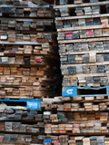 Stacked Boards at Recycling Business  Michigan  USA