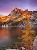 Prusik Peak and Subalpine Larch at Peak Fall Color at Lake Viviane