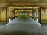 View under the Concrete Pilings of the Pier at Hanalei  Kauai  Hawaii  USA