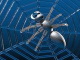 Illustration of a Webcrawler  a Robotic Spider Prowling its Web
