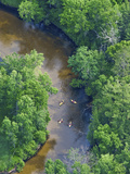 Kayaks on the Pere Marquette River  Michigan  USA
