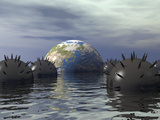 Conceptual Illustration of Earth Floating in a Minefield