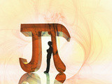 Illustration of a Boy Leaning Against a Mathematical Symbol for Pi