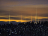 Truhin's Pillars on Christmas Night  Vermont  USA