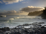 Waves Crashing onto the Rocky Lava Shore of Kauai  Hawaii  USA