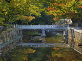 Bridge and Stonework over and Along a Stream in Autumn  Tongdo Temple Grounds  South Korea