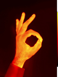 Thermogram of an Ok Hand Signal