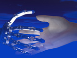 Biomedical Illustration of Robot and Human Hands Reaching Out