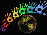 Rainbow-Colored Hands with the Earth