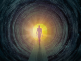 Out of the Cold Light at the End of the Tunnel Concept of a Person Moving Toward Recovery
