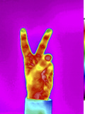 Thermogram of a Hand Showing the V Sign