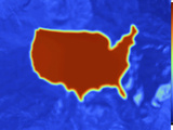 Thermogram of an Outline Map of the Continental USA Showing the Temperature