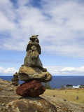 Stone Cairns  Nakalele Point Along Kahekili Highway (Route 30)  Pacific Ocean  Maui  Hawaii  USA