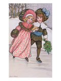 Girl and Boy Skating  Late 19th or Early 20th Century (Colour Litho)