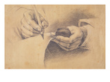 Drawing Hands  1798 (Black Chalk Heightened with White on Brown Paper)