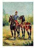 Two Horses and a Groom  1880 (Oil on Canvas)