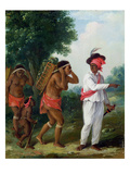 West Indian Man of Colour  Directing Two Carib Women with a Child  c1780