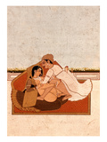 Lovers on a Terrace with White Flowers  Murshidabad  C1775  (Gouache on Paper)